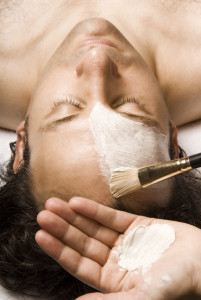 man relaxing with a nice facial lotion